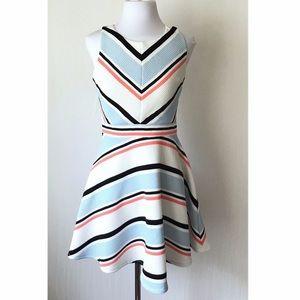 Xhiliration striped skater dress